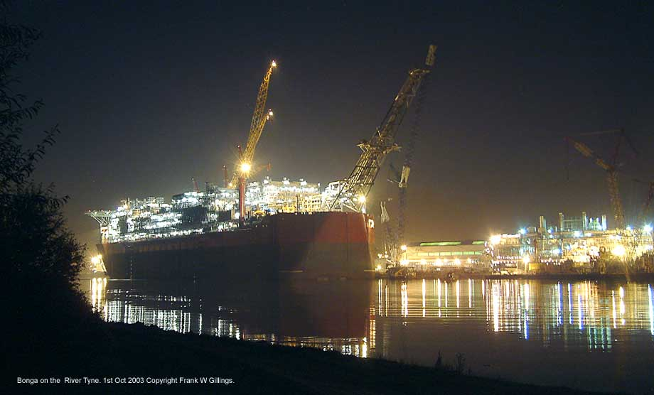 The completed Bonga. Bathed by a chorus of light in the  night on the Tyne. 1st October 2003