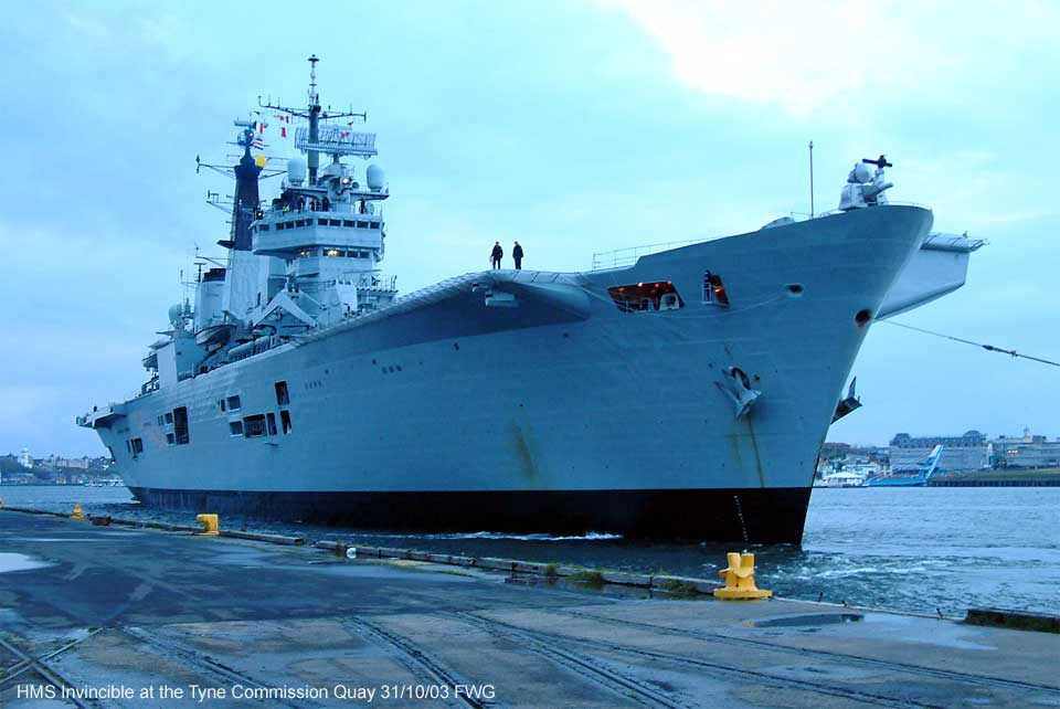 20,000 tonne-HMS Invincible berths at The Tyne Commission Quay on the  river Tyne Friday 31 Oct 03 for a four day visit