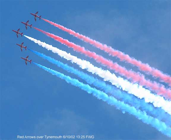 The Red Arrows over Tynemouth UK