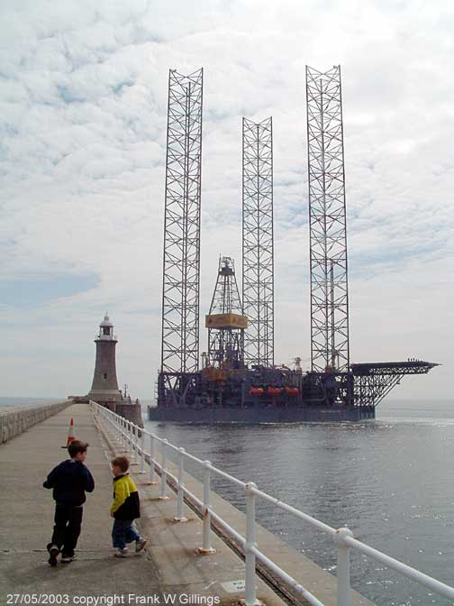 The massive Rowan Gorilla VII oil rig drilling platform on the river Tyne UK 27/005.2003