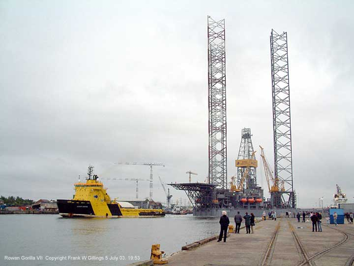 The massive Rowan Gorilla VII oil rig drilling platform upgraded, prepares to leave the river Tyne UK 5 July 2003